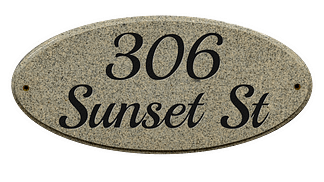 Custom lettering granite address plaque